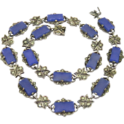 German Art Deco Chalcedony, Marcasite, Sterling Necklace