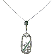 German Deco Emerald and Diamond Paste Sterling Necklace