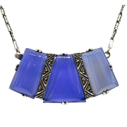 Art Deco Chalcedony Sterling Necklace Pendant Clasp