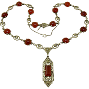 At Deco German Carnelian+Marcasite Sterling Necklace