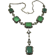 Reserved for Devin...Art Deco Chrysoprase Sterling Lavalier Y-Necklace German