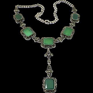 Art Deco Chrysoprase Sterling Lavalier Y-Necklace German