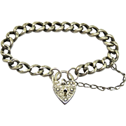 Victorian Sterling Puffy Heart Padlock Curb Link Bracelet