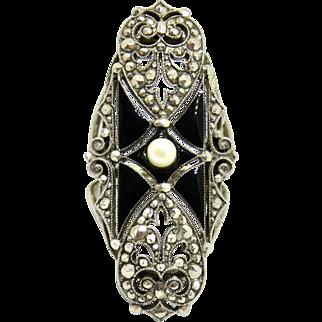 Art Deco Sterling Enamel+Pearl Huge Ring