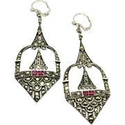 Deco German Sterling Marcasite+Ruby Paste Earrings Large