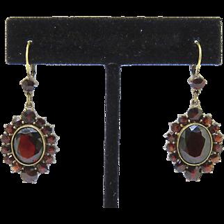 Victorian 14CT Gold Garnet Dangle Earrings
