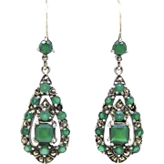 reserved for Kaye...Art Deco Chrysoprase Sterling Dangle Earrings