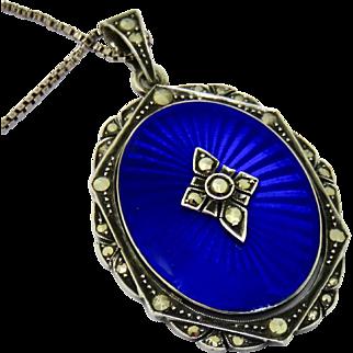 Edwardian Guilloche Enamel Sterling Pendant Necklace