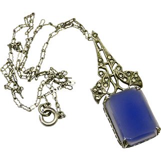 Art Deco Chalcedony Marcasite Sterling Necklace