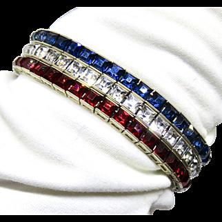 Deco Sterling Red White Blue Patriotic Bracelet