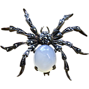 Deco Moonstone + Marcasite Sterling Spider Brooch
