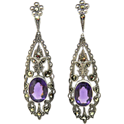 Art Deco 830 Silver Amethyst Paste Earrings