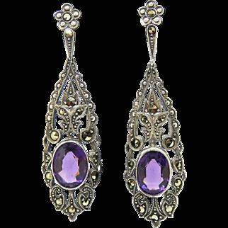 Art Deco 830 Silver Amethyst Paste Earrings