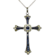 Deco French Diamond and Sapphire Paste Sterling Cross Necklace