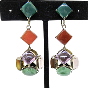Deco 8 Gemstone Sterling Japan Earrings - Red Tag Sale Item