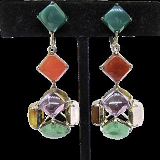 Deco 8 Gemstone Sterling Japan Earrings