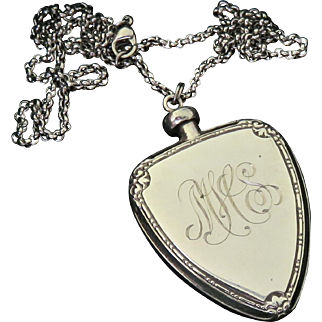 Victorian Sterling Perfume Flask Pendant Necklace