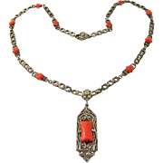 Edwardian Coral + Marcasite Sterling Necklace Lavalier