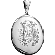Victorian Huge Sterling Locket Pendant