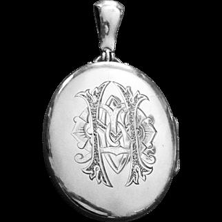 Victorian Huge Sterling Locket Pendant
