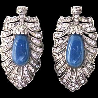 Deco Chalcedony + Paste Sterling Earrings Pierced