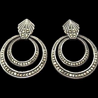 VINTAGE Deco Style Sterling Marcasite Earrings Large