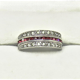 Deco Flip Ring Ruby+Sapphire Paste Sterling
