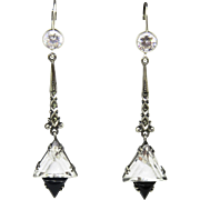 Art Deco Rock Crystal Sterling Earrings German