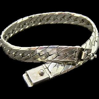 Wide Sterling Herringbone Italy Chain Bracelet