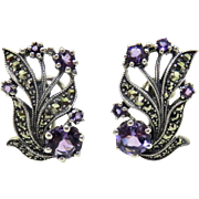 VINTAGE Amethyst + Marcasite Sterling Earrings Pierced