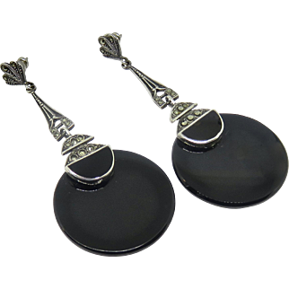 Deco Style Large Sterling Onyx Marcasite Earrings