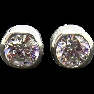 Vintage Cubic Zirconia Sterling Earrings Pierced