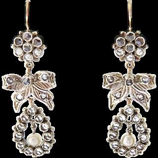 Georgian Style 9K and Sterling Rock Crystal Earrings