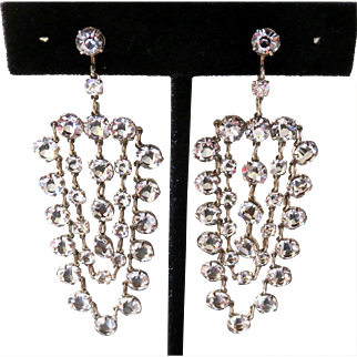 Art Deco Sterling Open Back Paste Earrings