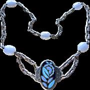 Art Nouveau Enamel + Chalcedony Sterling Necklace