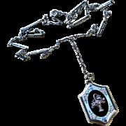 Edwardian Guilloche Enamel Sterling Locket and Lorgnette Chain
