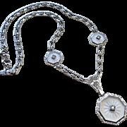 Edwardian Camphor Glass Sterling Paste Necklace