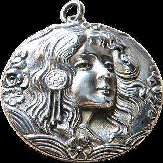 Huge Art Nouveau Sterling Maiden Locket Pendant