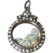 Edwardian Paste Sterling+Gold Locket Pendant