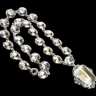 Art Deco Open Back Paste Crystal Sterling Necklace
