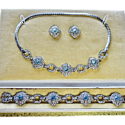 Deco Diamond + Topaz Paste Sterling Parure Engel Bro.