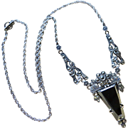 Edwardian Hematite Marcasite Sterling Necklace