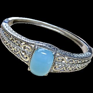 Chalcedony + Rhinestone Sterling Bangle Bracelet