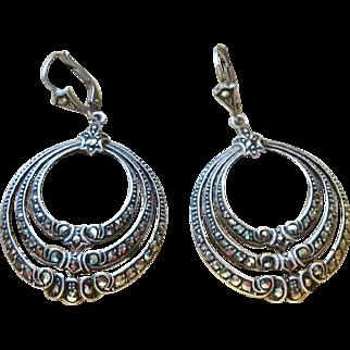 Art Deco Germany Sterling Marcasite Earrings Pierced
