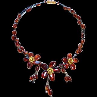 Vintage Baltic Amber Floral Necklace