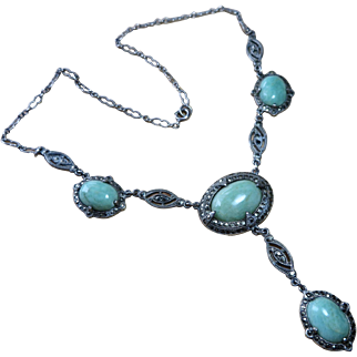 Art Deco Amazonite Sterling Marcasite Necklace