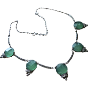Art Deco Wachenheimer Chrysoprase Sterling Necklace with Marcasites