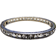 "Art Deco 1/4"" Sterling Crystal Rhinestone Bracelet Bangle"
