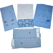 Five Blue Guest Towels
