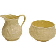Belleek Lotus Cream and Sugar Set